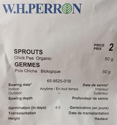 Germes/Micropousses de Pois Chiche Biologique / Chickpea's Sprout Organic  - Pépinière